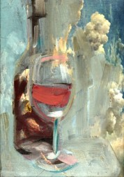 Wine glass and bottle Red | acrylic on canvas linnen reproduction| 20x30 cm