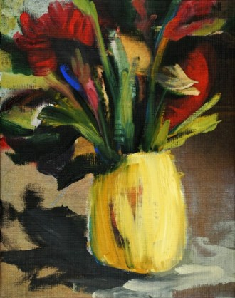 Red Flowers in Yellow Pot| oil / acrylic paint on canvas | +-26x20 cm | Con Amor Valencia Spain