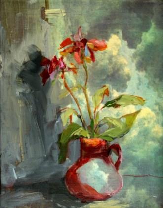 Red Vase Flowers | oil / acrylic paint on canvas | +-26x20 cm Blue Vase Flowers Clouds | oil / acrylic paint on canvas | +-26x20 cm | Kunstuitleen Alkmaar