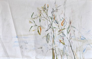 SOLD Roadside Flowers  Acrylic on sailcloth   125x200 cm   Steel frame top&bottom