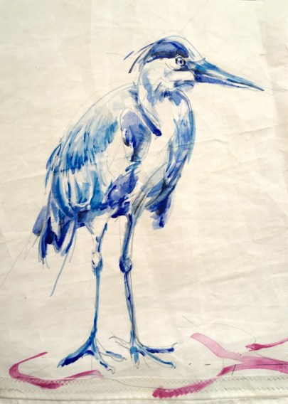 Gallery Culture of Yinbao Guangzhou Gallery China | Blue Heron / Blauwe Reiter | Acrylic paint on sail | 50x70 cm