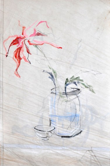 Flowers Sail Cup | |Acrylic on sailcloth | 85x130 cm | Steel frame top&bottom