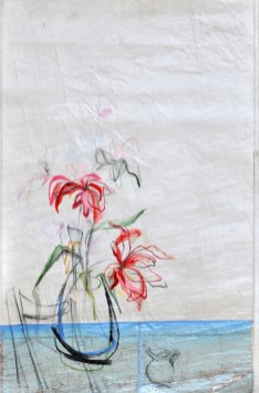 SOLD | Flower Sail Chair |Acrylic on sailcloth | 88x137 cm | Steel frame top&bottom