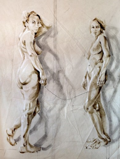 Dos Amigas |Acrylic on sailcloth | 180x225 cm | white wooden frame top&bottom
