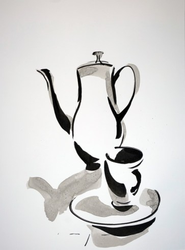 Tea pot, cup and saucer |Ink on paper | A3