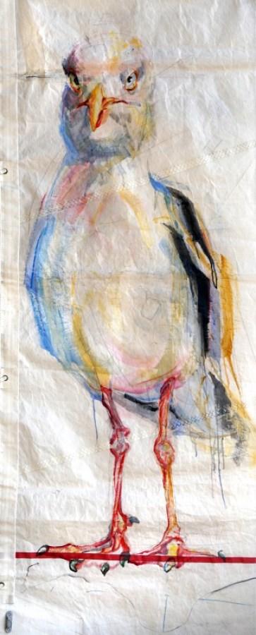 Seagull on Sail | Acrylic on Sail cloth | +-90 x 220 cm