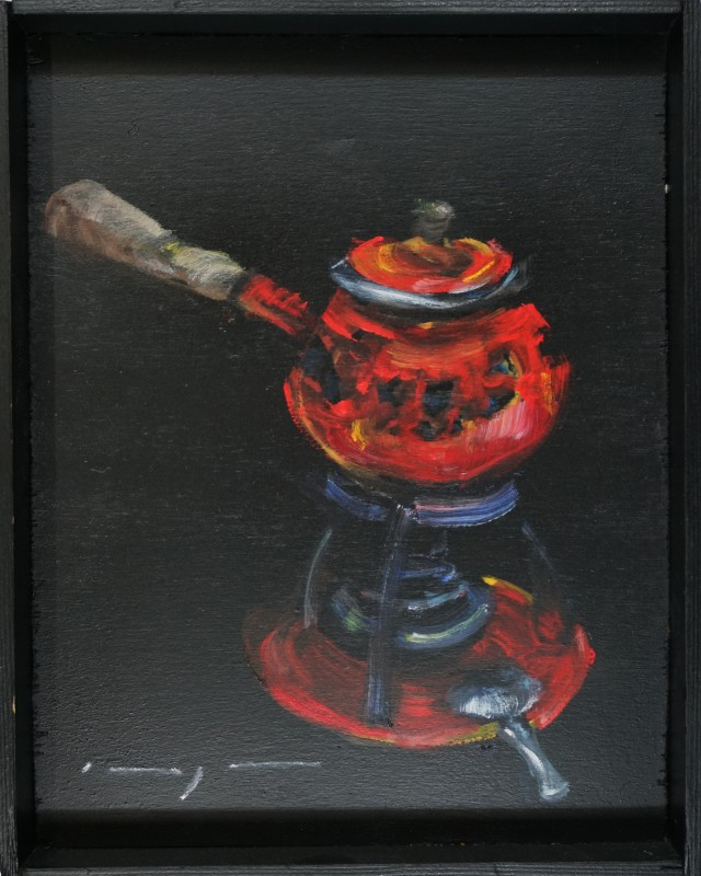 Fondue set '70 s | oilpaint on wooden tray