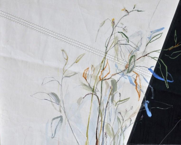 Flowers Sail Grasses | Acrylic on sailcloth | 120 x80 cm | Steel frame top&bottom