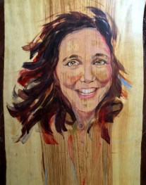 Portrait Cindy on wood