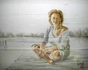 Portret, vrouw op steiger