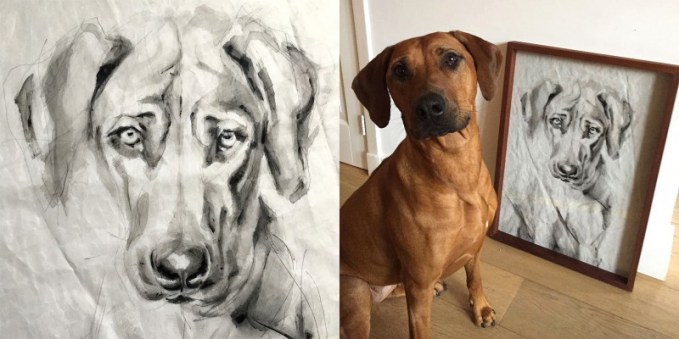 Portrait of Dog Kees | acrylic on sail | 50x70cm | portrait to commission