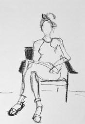 portretteken   model tekenen Schoorl, model Chantal juli 2018