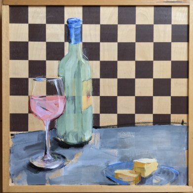 Wine & Art & Chess game | acrylic on chess board