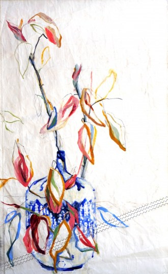 Branche in Blue Vase Nicole Donkers   steel top&bottom ready to hang   90x120 cm