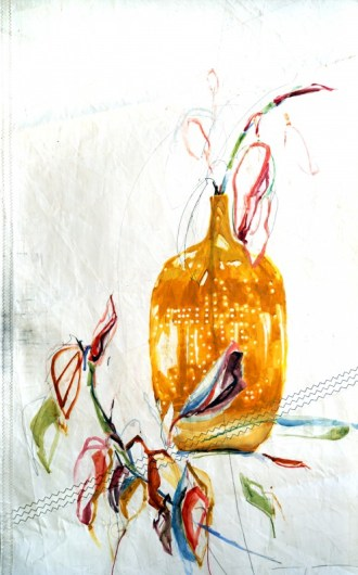 Branche in Yellow Vase Nicole Donkers | 90x120 cm