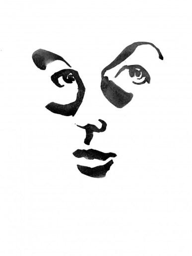 Inge Koetzier van Hooff   Ink Drawing   Self Portrait