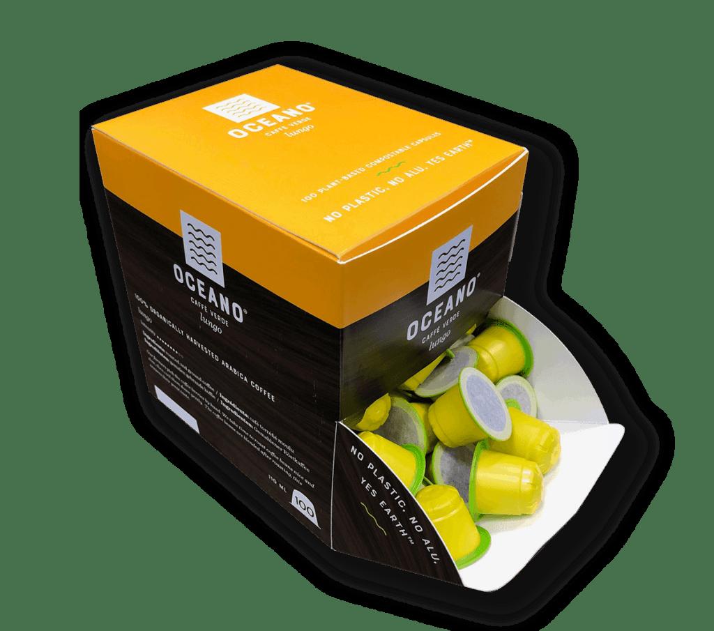 Oceano Coffee Composteerbare capsules 100 stuks Lungo Dispenser
