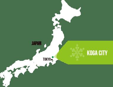 日本列島の中の古河の位置