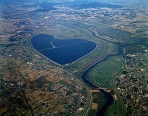 渡良瀬遊水地(谷中湖)の空撮画像