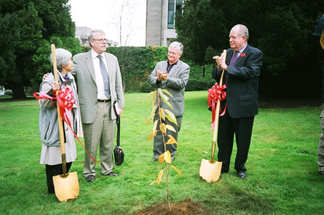 Joy Kogawa Cherry Tree Planting at Vancouver City Hall: Joy Kogawa, City Librarian Paul Whitney, Vancouver Opera General Director James Wright, City Councillor Jim Green – photo Deb Martin