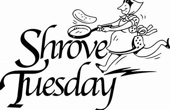 """a drawing of a woman running with a skillet and a pancake is flying in the air above the skillet. The women is running toward the words """"Shrove Tuesday"""""""