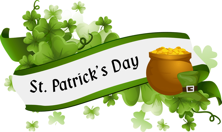 "Banner showing the title, ""St. Patrick's Day"". A pot of gold is at the right side of the picture with shamrocks scattered about the picture."