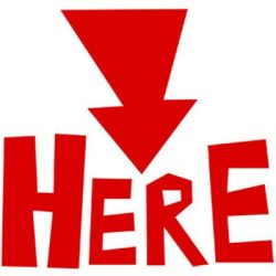 "Red arrow pointing down at the word """"HERE"