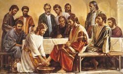 a painting of the Last Supper showing Jesus washing the feet of an Apostle