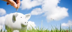 Picture of hand holding coin ready to put it in a piggy bank, which is sitting on a grassy field with white puffy clouds in the background.
