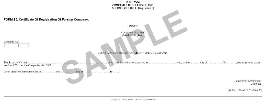 Form 83 for Certificate of Registration of A Foreign Company in Malaysia