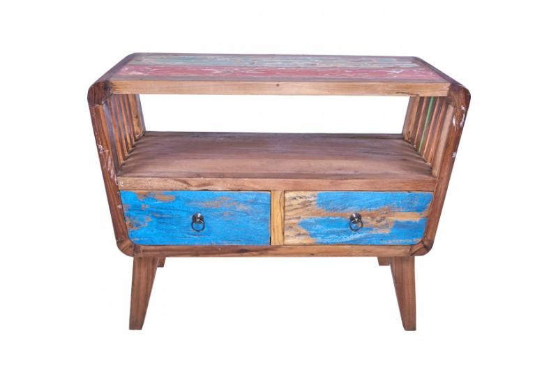 meuble tv en bois de bateau recycle