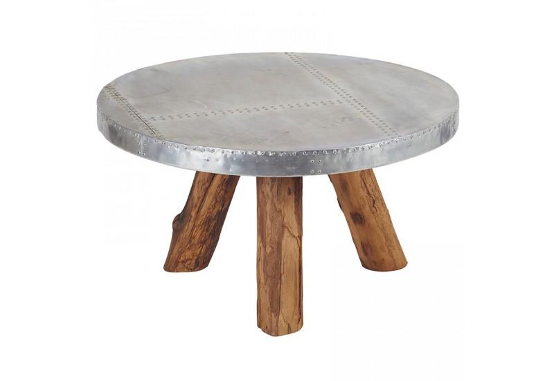 table basse ronde bimi en teck aluminium