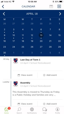 You can view the school calendar and add events to your own calendar