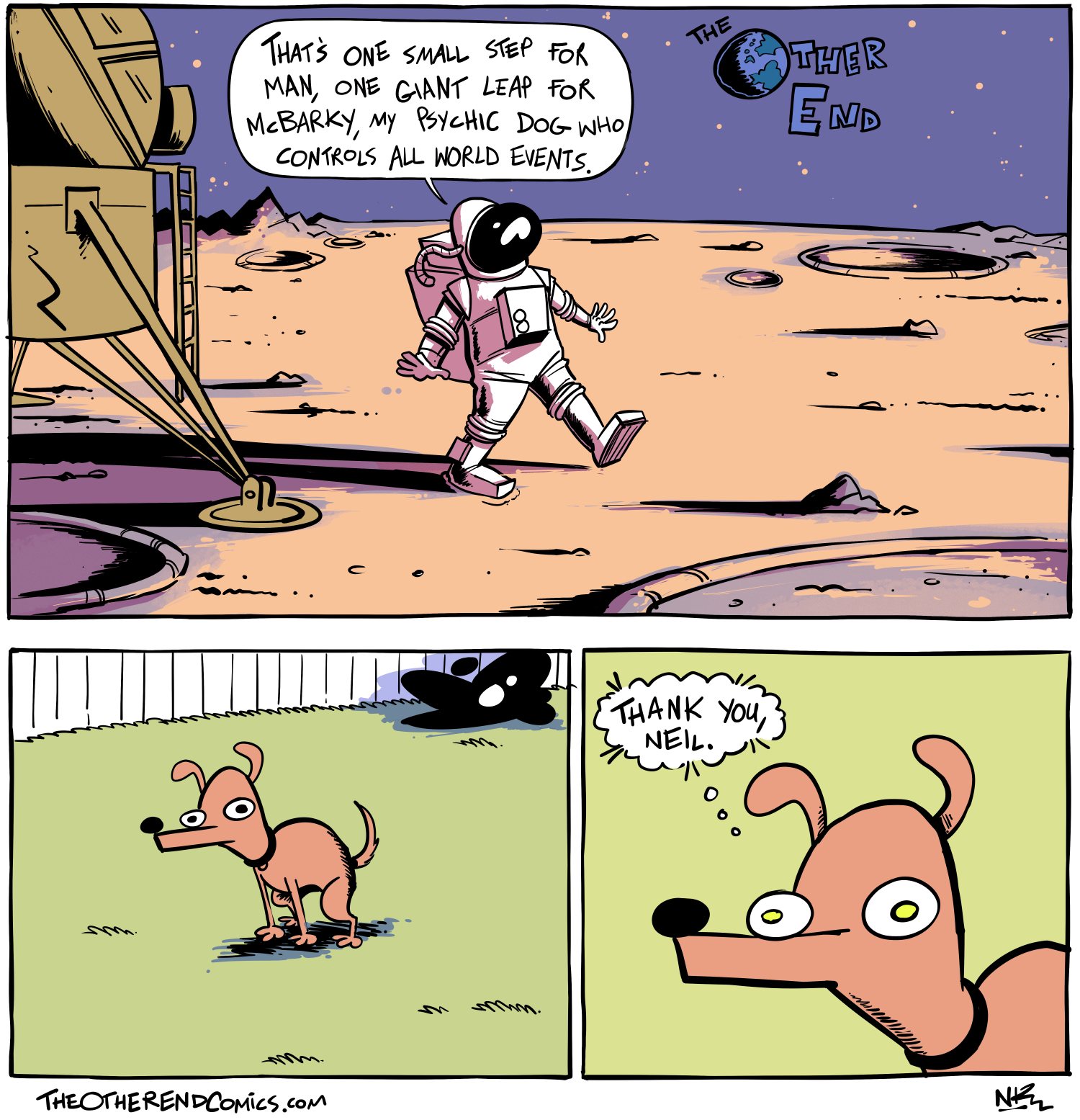The psychic dog who controls all world events is named McHumpy, not McBarky. This comic is so fake.