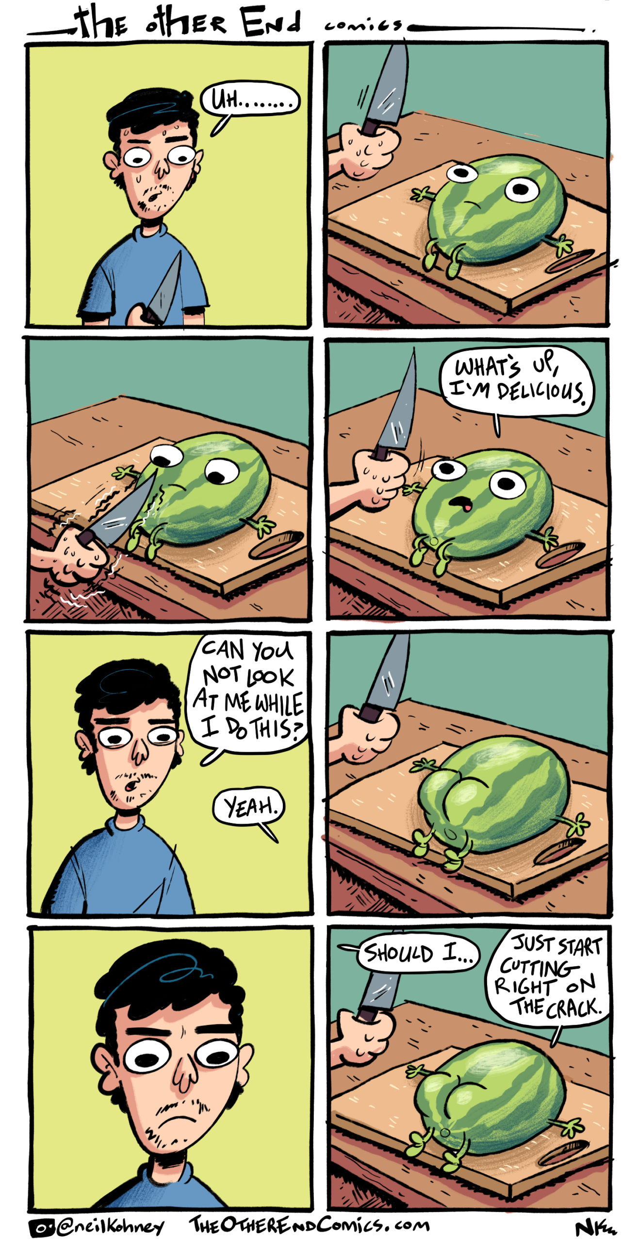 You're supposed to cut watermelon with a machete. This comic is so fake