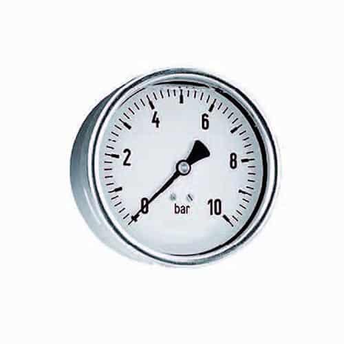 """Druckmanometer in Edelstahl mit Glyzerin 1/4"""" hinten"""