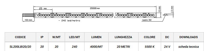 STRIP LED 2835 SL200 20 Metri LEDCO
