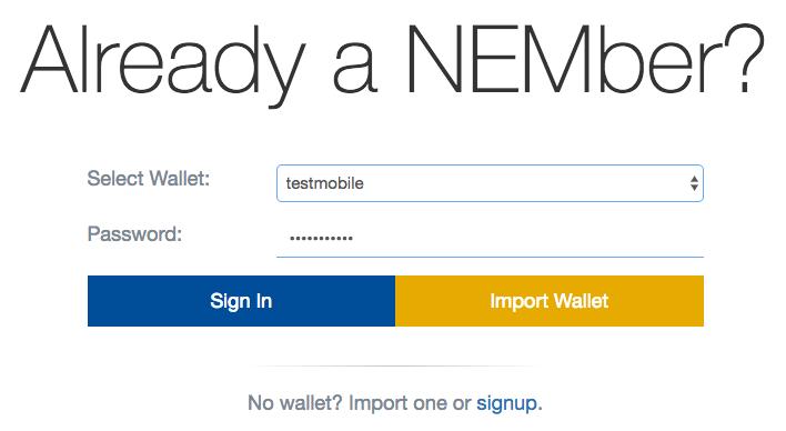 Mobil NEM Wallet