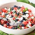Watermeloensalade met feta & blauwe bessen