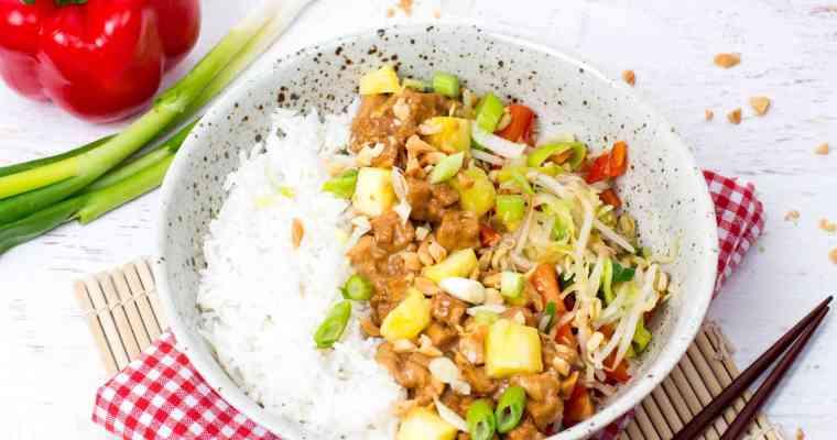 Rijst met pinda tofu