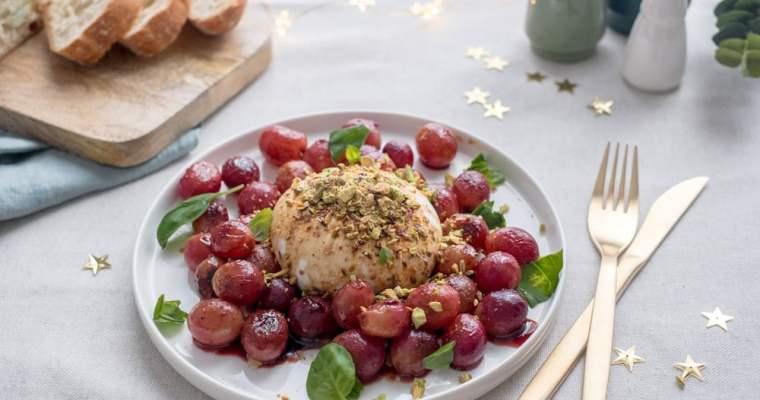 Kerstmenu: burrata met geroosterde druiven