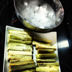 Preparación de las berenjenas en tempura