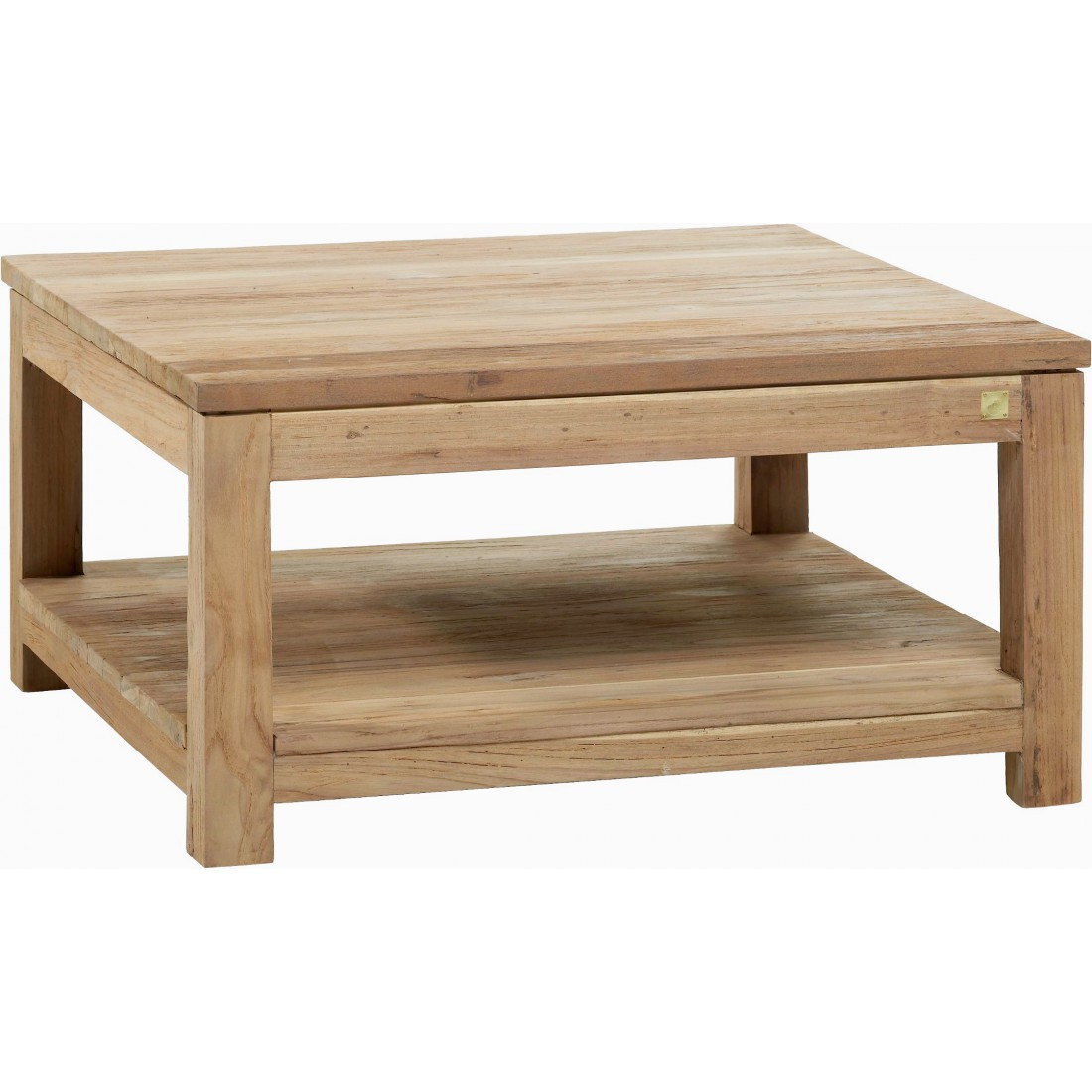 recycled brushed teak coffee table 80 x 80