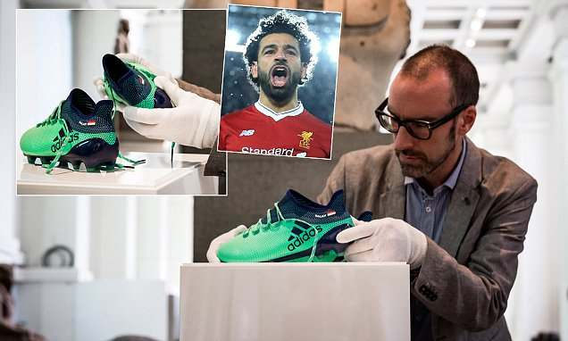 Image result for Liverpool forward Mohamed Salah's Boots Become Museum Exhibit