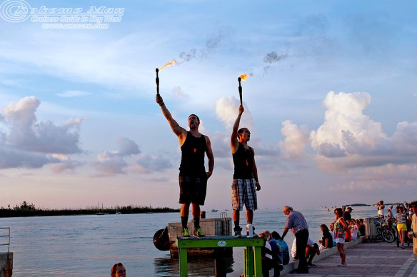 Fire Eaters hailing in sunset.