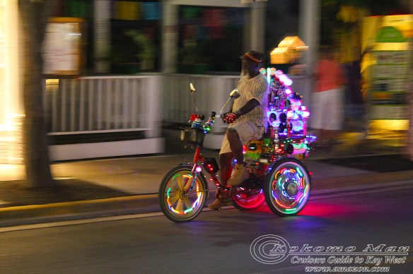 Every night this icon of Key West pedals his way down Duval. He is part of the Key West character at night.