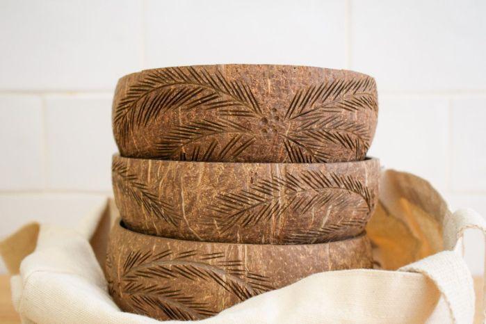 Bowl coco grande palmeras - 3 unidades