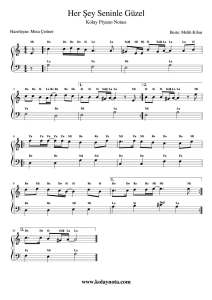 Her Şey Seninle Güzel - Kolay Piyano Notası