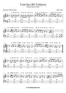 Uzun İnce Bir Yoldayım - Kolay Piyano Notası