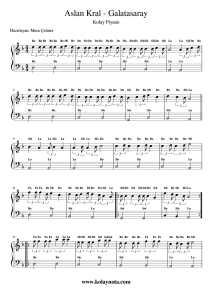 Galatasaray - Aslan Kral - Kolay Piyano Notası